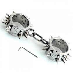 Unisex Spiked Stainless Steel Heavy Duty Wrist Cuffs - bhs-923