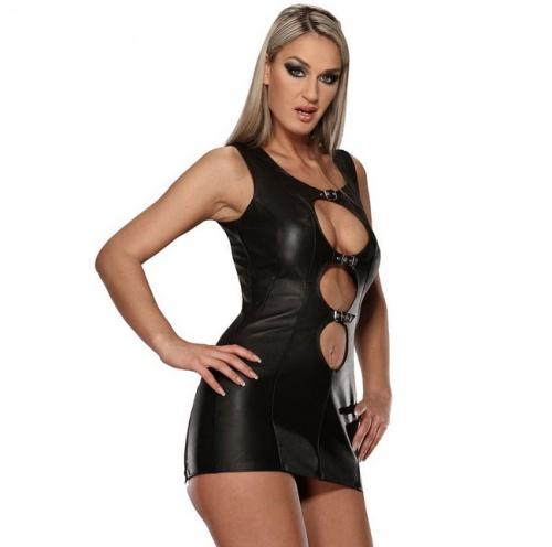 Leder Mini-Kleid 5474 - le-5474-blk