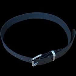 Smalle zwarte lederen collar - os-pet998db-leather