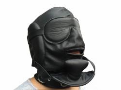 Zwart leder Sensory Deprivation Masker - os-0369