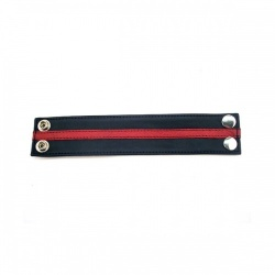 Leather Wrist Band - Black & Red  - rg-r wb1084br