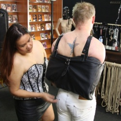 Leather Tight Bondage Back Bag with Locks - os-0521