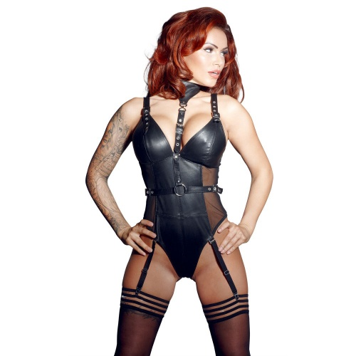 Black body made out of lamb nappa leather and powernet. With four removable suspender straps and a zip at the back.