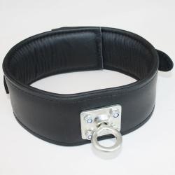 Zwarte lederen Halsband met draaibare RVS Ring - os-lc-rr