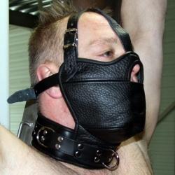 Leder hoofdharnas masker met mondknevel en collar - os-0517