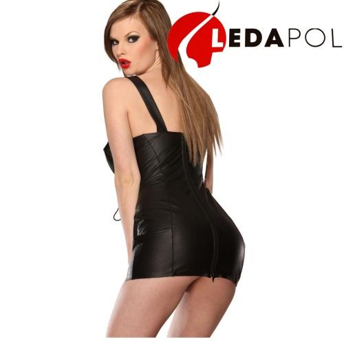 Leder Minikleid mit Frontschnürung 5481 - le-5481-blk