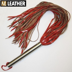 Heavy Red Leather Whip with 60 hard cowhide leather tails - nl-w100-60rh