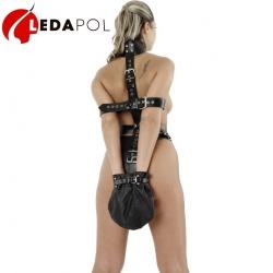 Leder Fessel-Set mit Handsack 5393 - le-5393-blk