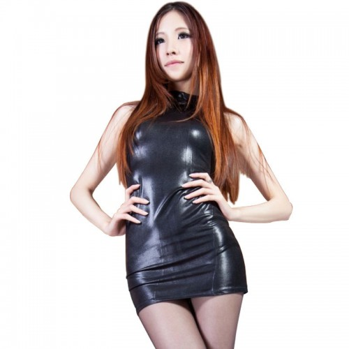 Sexy Black Fetish Wetlook Mini Dress - mae-cl-020