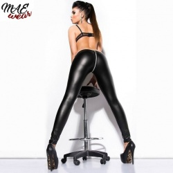 Sexy Zipper Open Crotch Faux Leather Leggings - mae-cl-026