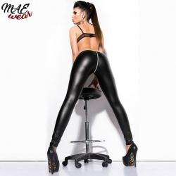 Sexy Zipper Open Crotch Faux Leather Leggings - mae-cl-026
