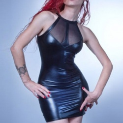 Vocole Sexy Black Wetlook Vinyl Mesh Dress - mae-cl-127