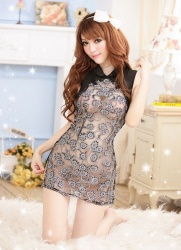 classic transparent cheongsam lace nightgown - mae-cl-129