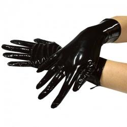 Korte witte lak handschoenen maat Medium - le-1063-med-wht
