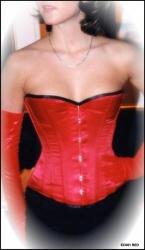 Rood Satijnen (half)Bovenborst korset met afneembare jarretelles - et-ec001-satin-red