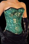 Groen zijden drakenprint corset - et-ec007-draakseid-grn-plus
