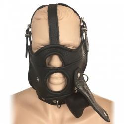 Saxos Masker met Openingen, Uitneembare Gag en Halsband L/XL - os-0518lxl