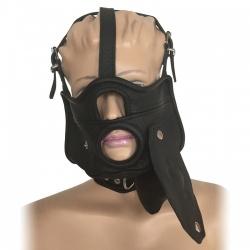 Saxos Masker met Openingen, Uitneembare Gag en Halsband S/M - os-0518sm