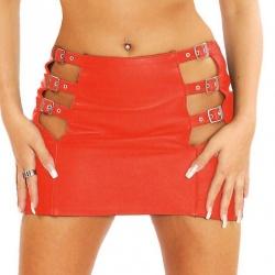 Rot Leder Mini Rock Großen EU 42 oder EU 44 - le-5101-red