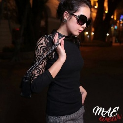 MAE-Wear Stretch Top with Lace Sleeves XL - mae-cl-035