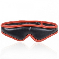 MAE-Toys Padded Black/Red PU-Leather Blindfold - mae-sm-012blk/red