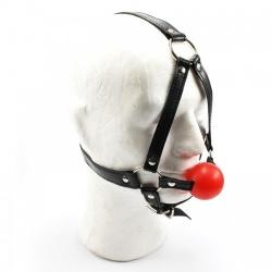 MAE-Toys Rood Siliconen Ball Gag Harnas - mae-sm-001r