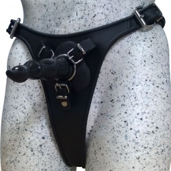 Leather Strap-on with 4 rings for 4 size dildos - os-tsl1