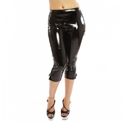 Zwarte Lak PVC Paula Pedal Pushers Leggings  - hr-h2237