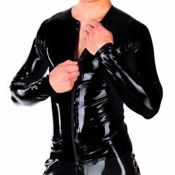 Zwart Latex HerenLongsleeve Shirt met Rits - la-3163