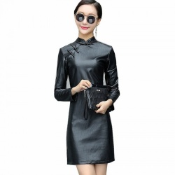 Black PU Leather Cheongsam Style Dress - mae-cl-049