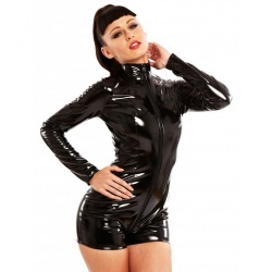 Black PVC Pleasure Playsuit by Honour - hr-h2251