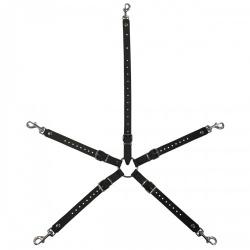 Adjustable Leather Hogtie Bondage Harness by Saxos - os-0377-3