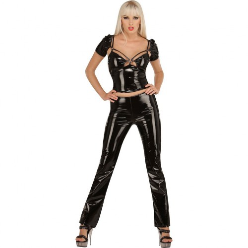 Ladies PVC trouserswithout waistband. Pants with zipper on the side by Ledapol 1269