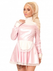 PVC Melody Maid Dress in Pink & White by Honour Clothing  - hr-h3037