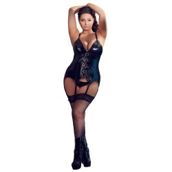Plus Size Lak Torselet van Black Level - or-2840561