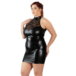 Plus Size Wetlook en Kant Jurk van Cottelli Collection Plus  - or-2716437