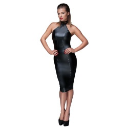 Hot knie-lange wetlook jurk by Noir - or-271666610