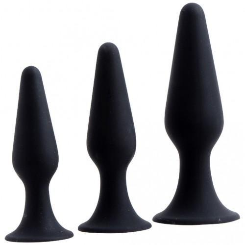Hands Free Anal Plug Set - Black