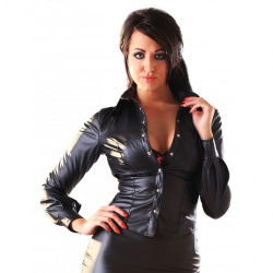 Ladies Leatherette Shirt Black - hr-h2107