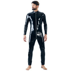 Men's Vinyl Catsuit by Black Level - or-2890470