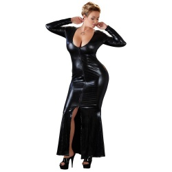 Plus Size Wetlook Jurk van Cottelli Collection Plus - or-2715163