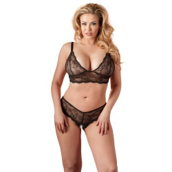 Zwarte BH en G-string met open kruis van Cottelli Collection Plus - or-2212404