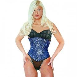 Zijden corset met Blauw/Gouden Chinese draak-design - et-ec005-seide-blue-gold