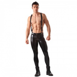 Skinny Latex Jeans With Braces by Honour  - hr-r1638