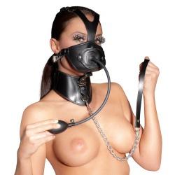 Lederen Masker met Opblaasbare Gag van ZADO - or-20201221001