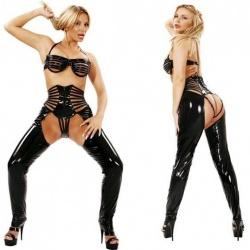Zwarte lak broek maat EU 34 - le-1243-blk-eu34