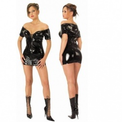 Lack Kleid Schwarz Große EU 44 - le-1599-blk-uk16-eu44