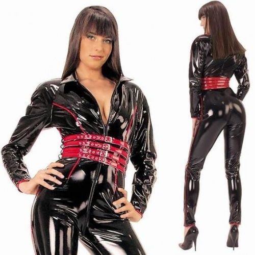 Fetish Schwarz / Rot Lack Overall 1603 - le-1603