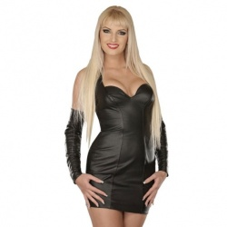 Black leather mini dress 5113 - le-5113-blk