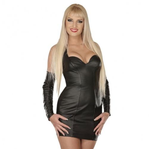 Leder Mini Kleid Schwarz 5113 - le-5113-blk